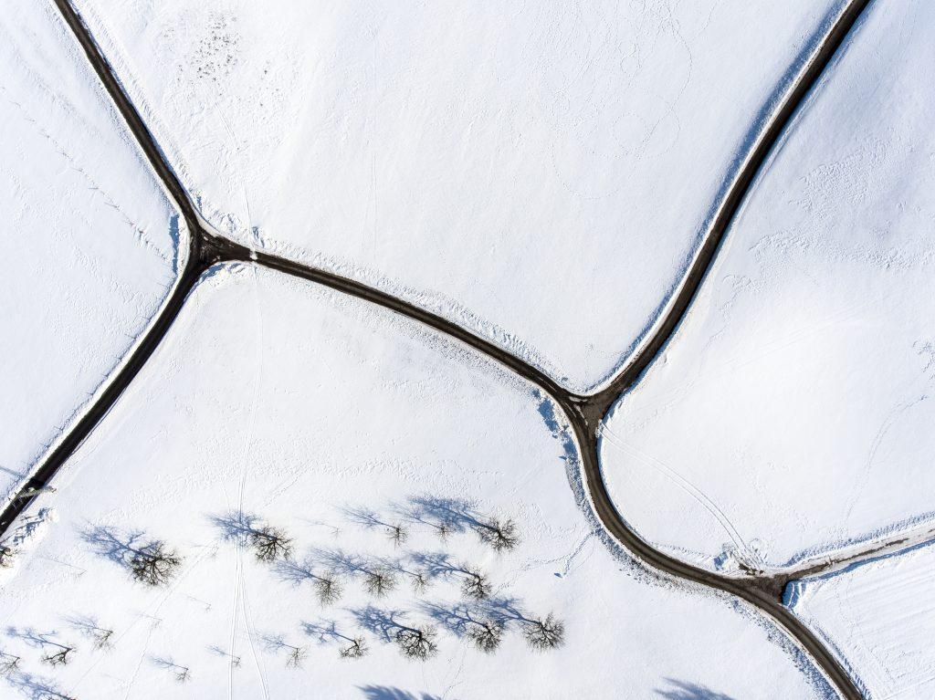 Winterlandschaft aus der Luft